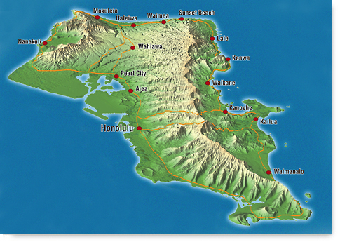 Custom Maps Oahu Topographical Map