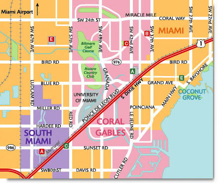 Coconut Grove Florida Map.Custom Travel Maps Coral Gables Florida Map