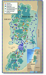 Custom Political Map of West Bank