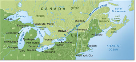 Custom Maps Great Lakes Map - The great lakes on us and canada map